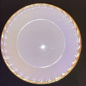 "Set o 5 Fire King Milk Glass Gold Rim 7 1/2"" Plate"
